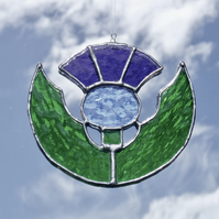 Stained Glass Scottish Thistle Suncatcher Lightcatcher Gift Souvenir