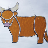 Stained Glass Highland Cow Suncatcher Lightcatcher Gift