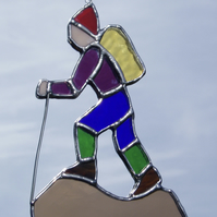 Stained Glass Hillwalker Hiker Suncatcher Lightcatcher Gift