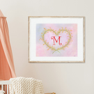 CUSTOM INITIAL LETTER Flower Art Print, Mimosa Wreath, Printable Pastel Painting