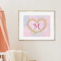Personalized Mimosa Heart Wreath Art, Printable Pastel art, Nursery wall deco