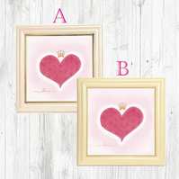 Crown Heart Wall Art, Framed -  Valentine's Day, Kid's room