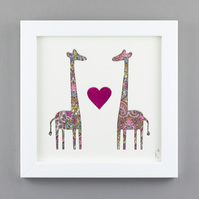 'Giraffes in Love' in Liberty of London Pink Heart Paisley fabric