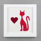 'Quirky Cat' in Red Spotty fabric
