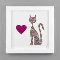 'Quirky Cat' in Liberty of London Pink Heart Paisley fabric