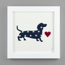 'Dashing Dachshund' in Blue Star fabric