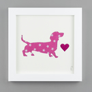 'Dashing Dachshund' in Pink Star fabric