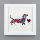 'Dashing Dachshund' in Union Jack fabric