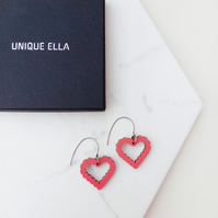 Heart Earrings Scandi Design Wooden Jewellery