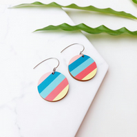 Colourful Florida Statement Wooden Earrings Unique Sustainable Jewellery