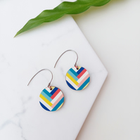 Colourful Key West Wooden Earrings Unique Sustainable Jewellery