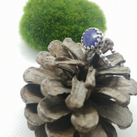 Oval Lapis Lazuli Silver Beaded Ring Size N