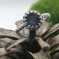 Opal Silver Beaded Ring, Size N