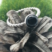 Black Onyx Silver Beaded Ring, Size R and a half