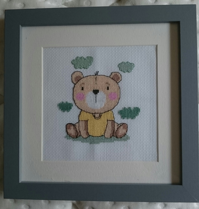 Cute Bear Completed Cross Stitch