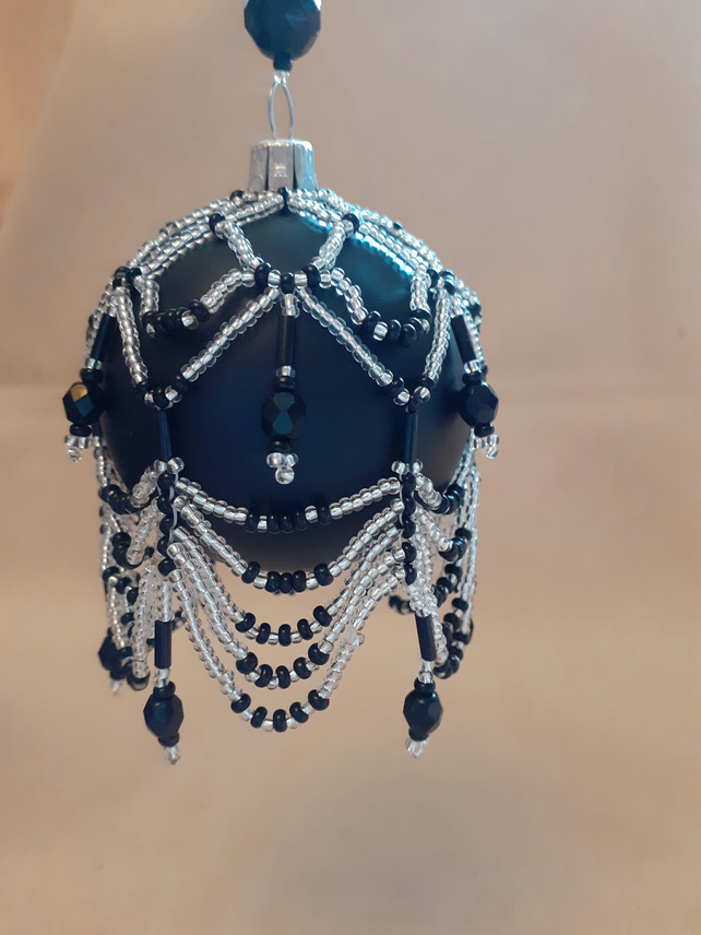 Beaded Bauble - Black & Silver
