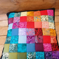 Rainbow Patchwork Cushion cover, Handmade, Batik fabrics, Cottons,