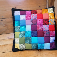 Rainbow Patchwork Cushion cover, Handmade, Batik fabrics, Cottons, unique