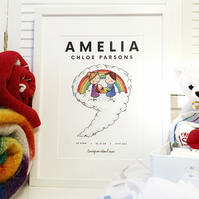 Rainbow baby personalised name print 'Living on cloud nine'