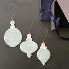 Set of three porcelain Baubles (Baby Blue)