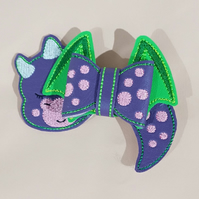 3D Sleepy Dragon Hair Bow Clip