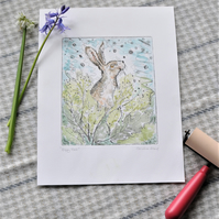 'Happy Hare' - Hand painted original print by Christine Dracup