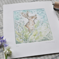 'Hello' - Hand painted original print by Christine Dracup
