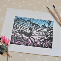 Summer Hare - Original lino cut print by artist and printmaker Christine Dracup