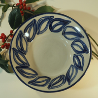 Ceramic hand-painted bowl with leaf design