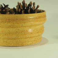 Handmade Oatmeal Ceramic Planter bowl with ogee profile sides