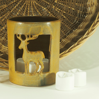 Ceramic Stag Candle holder, hand carved