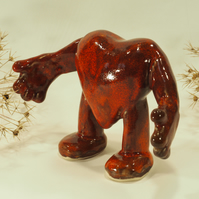 Red Handmade Ceramic Heart, a hug with arms and legs