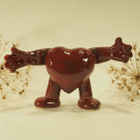Dark Red Handmade Ceramic Heart, a hug with arms and legs