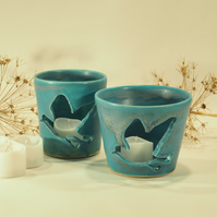 Turquoise Candle Holder - Bird silhouette