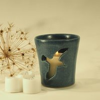 Grey Blue Candle Holder - single Seagull