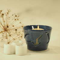 Dark Blue Candle Holder - four Seagull