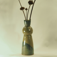Tall Vase in Green with Sphere and Blue Diagonal
