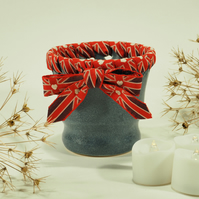 Decorative Blue Cup finished in Union Jack Heart Ribbon