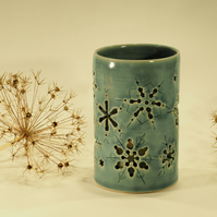 Tall Blue Snowflake Ceramic Candle Holder, Hand-carved design