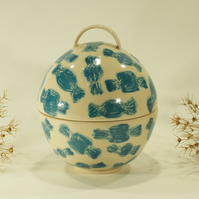 'Turquoise sweets design', 'Fill your Own' Ceramic Easter Egg with handle