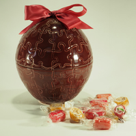 'Fill your Own' Ceramic Easter Egg - Red jigsaw design with ribbon