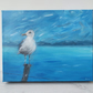 Seagull original painting. Impressionist painting of seagull and sea. 25 x 20cm