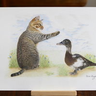 Tabby Cat & his friend the Duck  ORIGINAL    Coloured Pencil Drawing