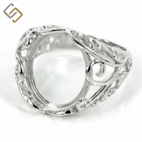 Filigree style ring with prong setting in sterling silver for 12mm x 16mm oval s