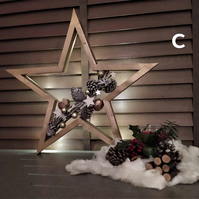Christmas LED lights wooden star shaped wreath home decoration