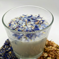 Blooming Jasmine Natural Soy Wax Candle Floral 30cl Flower Blue Cornflower Gift