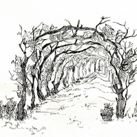 Grapes farm, Green Wall Art Décor, Hand-Drawn Print, Ink Drawing