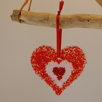 Unique heart ornament in red design fused glass - great Valentine's Gift!
