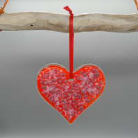 Red heart ornament fused glass. A perfect Valentines Day gift of love.