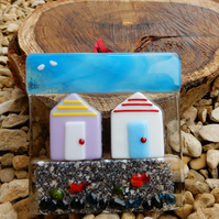 Beach hut suncatcher in fused glass. A sunshine catching bit of happiness!